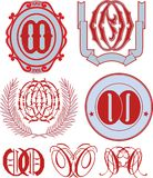 Set of OO monograms and emblem templates Royalty Free Stock Photos
