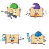 Set of open book character with army elf professor architect Royalty Free Stock Photo