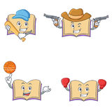 Set of open book character with baseball cowboy basketball boxing Stock Photo