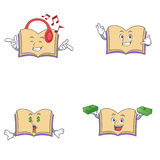 Set of open book character with listening call me money eye Royalty Free Stock Images