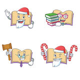 Set of open book character with Santa candy judge student. Vector illustration Stock Images