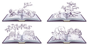 Set open book fable illustration. Vector drawing royalty free illustration