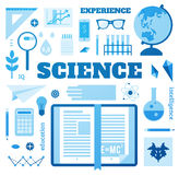 Set open book about science. Signs and symbols of science Royalty Free Stock Photo