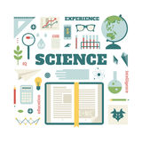Set open book about science Royalty Free Stock Photography