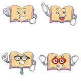 Set of open boook character with proud okay businessman hero. Vector illustration vector illustration