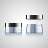 Set of open and closed cream jar, realistic design. Vector illustration Stock Photography