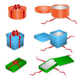 Set of open and closed gift boxes. Vector Illustration isolated set of open and closed gift boxes Stock Image