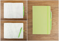 A set of open and closed notebook with pen on the table. Royalty Free Stock Photo