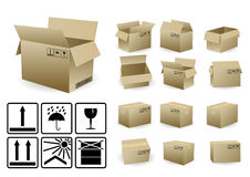 Set of open and closed shipping box Stock Photo