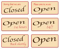 Sorry We Are Closed. A set of open and closed signs Stock Photography