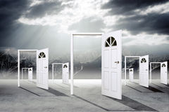 Set of open doors. With sky and clouds Royalty Free Stock Photo