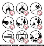Set of open fire prohibition signs. Royalty Free Stock Images