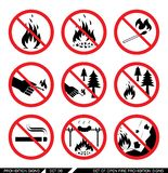 Set of open fire prohibition signs Royalty Free Stock Photos
