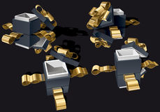 Set of Open Gift Boxes. With Golden Bow on Black Background. Vector Illustration (EPS v.8.0 Stock Photo