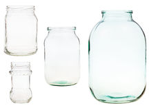 Set of open glass jars isolated on white Royalty Free Stock Photography