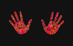 Set of 2 open hand bunch of fives polygonal black background Royalty Free Stock Images