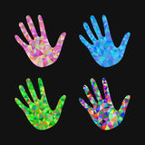 Set of 4 open hand bunch of fives polygonal black background Stock Photo