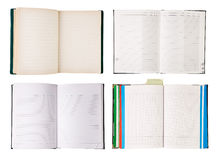 Set of open notebooks Stock Photos