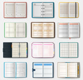 Set of open notebooks with pages vector illustration. Royalty Free Stock Photo