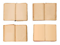 Set of open old books isolated, vintage book with blank yellow stained pages. Set of open old books isolated, vintage book with blank yellow stained pages royalty free stock photography