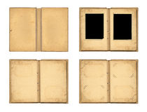 Set the open old photo albums isolated on white background Stock Photos
