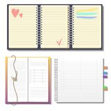 Set of open realistic notebooks with pages diary office sheet template booklet and blank paper education copybook Stock Image