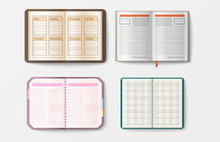 Set of open realistic notebooks with pages diary office sheet template booklet and blank paper education copybook Stock Images