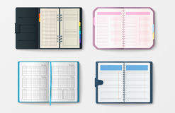Set of open realistic notebooks with pages diary office sheet template booklet and blank paper education copybook Royalty Free Stock Images