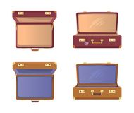 Set Open Suitcases with Britain Flag Vector Icons. Set of open suitcases with Britain flag vector illustration posters isolated on white background. Vintage Royalty Free Stock Images