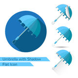 Set of open umbrella icons in flat style with different shadow Royalty Free Stock Photos