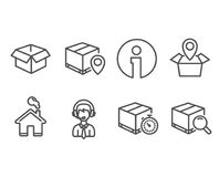 Opened box, Shipping support and Parcel tracking icons. Stock Photography