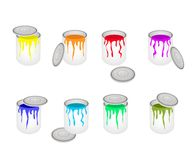 Set of Opened Buckets with Six Paint Colors vector illustration