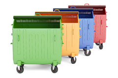 Set of opened colored garbage containers, 3D rendering Royalty Free Stock Images