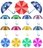 Set opened colorful umbrellas rain. On white background Royalty Free Stock Image