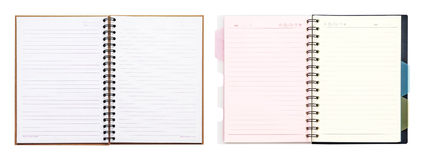 Set of opened recycle note book on white background, clipping pa Royalty Free Stock Photography
