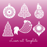 Set of openwork Christmas decorations. Laser cutting template Stock Images