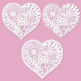 A set of openwork hearts with flowers.For laser cutting. A set of openwork hearts with flowers. For laser cutting. For the design of wedding cards, menus and so royalty free illustration