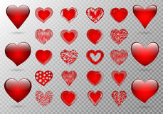 Set of openwork hearts vector illustration