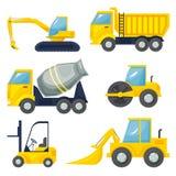 Set  of operating machinery vector illustration. Set  of operating machinery, heavy vehicles, vector illustration Royalty Free Stock Photography