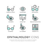 Set of Ophthalmology Healthcare, Medical Diagnosis Stock Photo