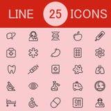Set 25 opiek zdrowotnych Kreskowych ikon Zdjęcie Stock