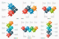 Set of 3-8 option infographic templates with puzzle sections Stock Photography