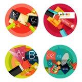Set of option presentation labels, flat design web Royalty Free Stock Photography