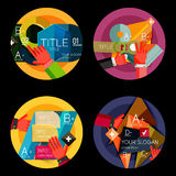 Set of option presentation labels, flat design web Royalty Free Stock Image