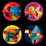 Set of option presentation labels, flat design web Royalty Free Stock Images