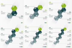 Set of 3-8 option vector infographic templates with 6 hexagons. For presentations, advertising, layouts, annual reports royalty free illustration