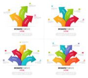Set of 3-6 options infographics with branching circular arrows. Vector templates for presentations, data visualization, layouts, annual reports, web design Royalty Free Stock Image