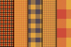 Set of 5 options tartan seamless pattern backgrounds. Autumn color panel plaid. stock illustration