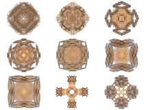 Set of orange abstract fractal pattern. On a white background Royalty Free Stock Photography