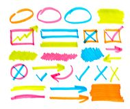 Set of orange abstract hand-painted marker vector illustration